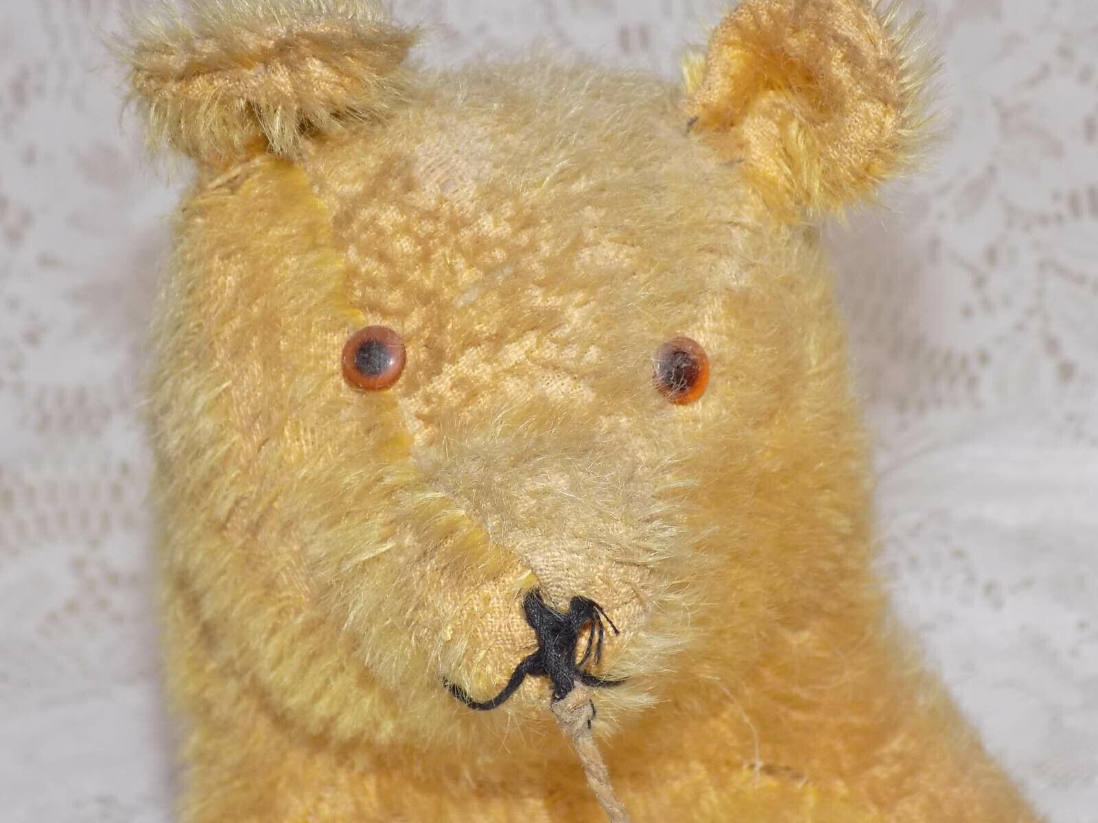 Antique Mohair Bear Pull Spielzeug Wheels