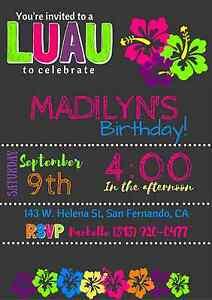 Image Is Loading Luau Hawaiian Party Invitation Personalized Custom You Print