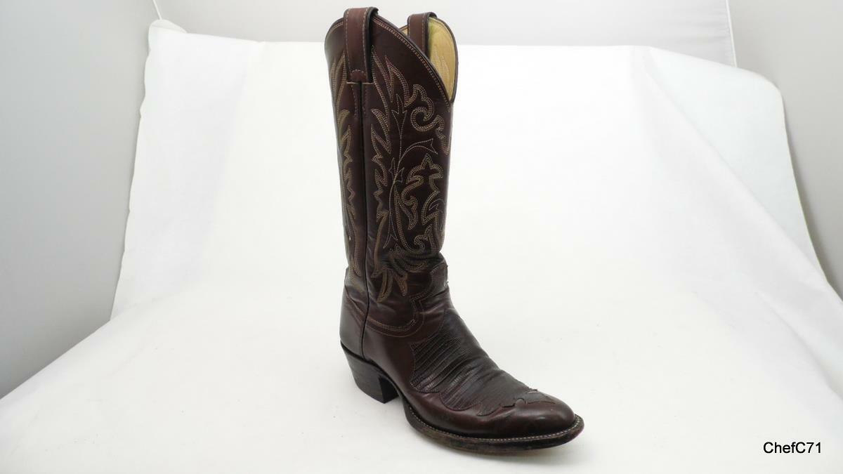 JUSTIN 2025 BROWN LEATHER LIZARD VAMP US 6.5 MENS 14.5  TALL USED NICE EXOTIC