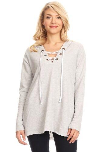 T-PARTY Heather Grey Grommet Tie Neck Long Sleeve Lightweight Hoodie Sweatshirt