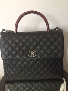 64cedfff5621 CHANEL CoCo Handle Large Bag Black Burgundy Caviar Lizard Gold Jumbo ...