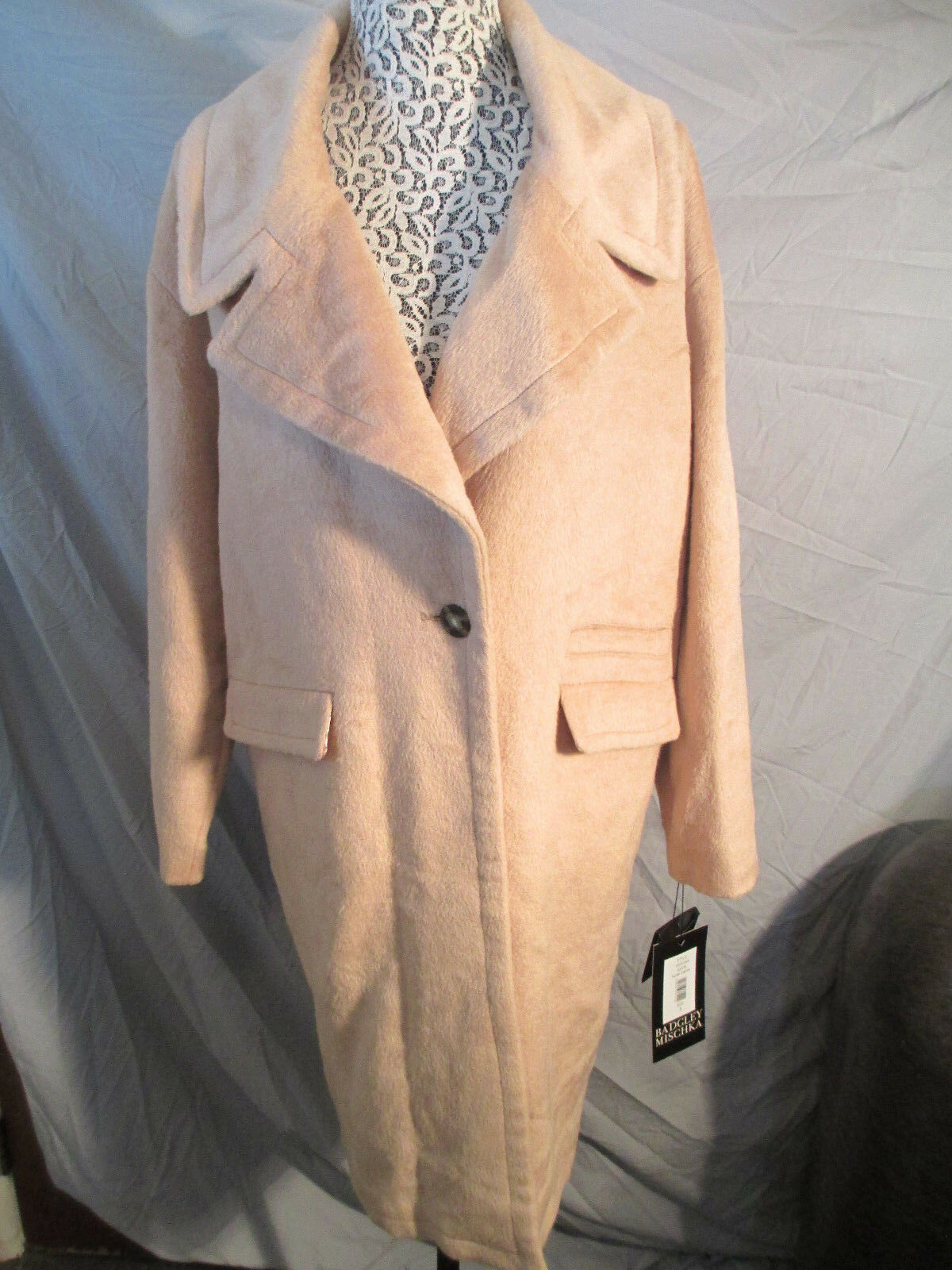 HOT Designer Badgley Mischka Verona Coat,Nude Camel color size S Retail  900