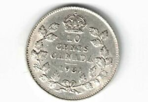CANADA-1931-TEN-CENTS-DIME-KING-GEORGE-V-800-SILVER-COIN-CANADIAN