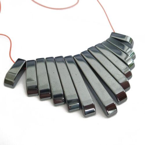 HÄMATIT Perlen Stäbchen 12-29mm Strang 13 Stück nenad-design