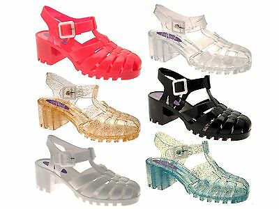 WOMENS HEEL JELLY CUT OUT SANDALS FLAT JELLIES BEACH GIRLS LADIES SHOES SIZE 3-8