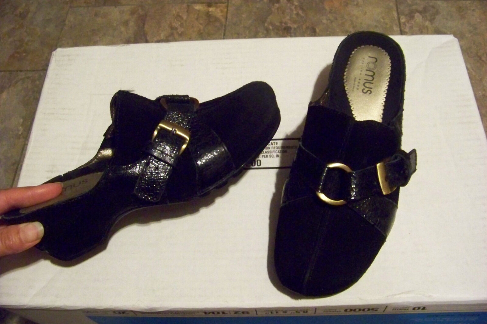 Womens romus black suede & leather slip on mules size 38