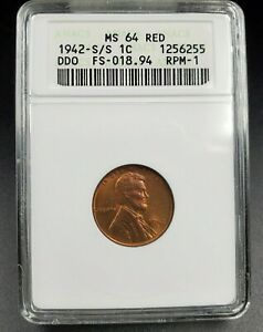 1942 S S/S Lincoln Wheat Cent DDO RPM ANACS MS64 RED FS-101/301 FS-018.94 S/S/S