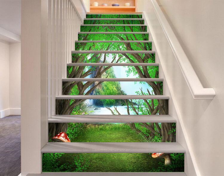 3D Wald Fluss 9283 Stair Risers Dekoration Fototapete Vinyl Aufkleber Tapete DE