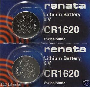 Renata CR1620 3V Micro Lithium Button Coin Cell Batteries 2 Pcs