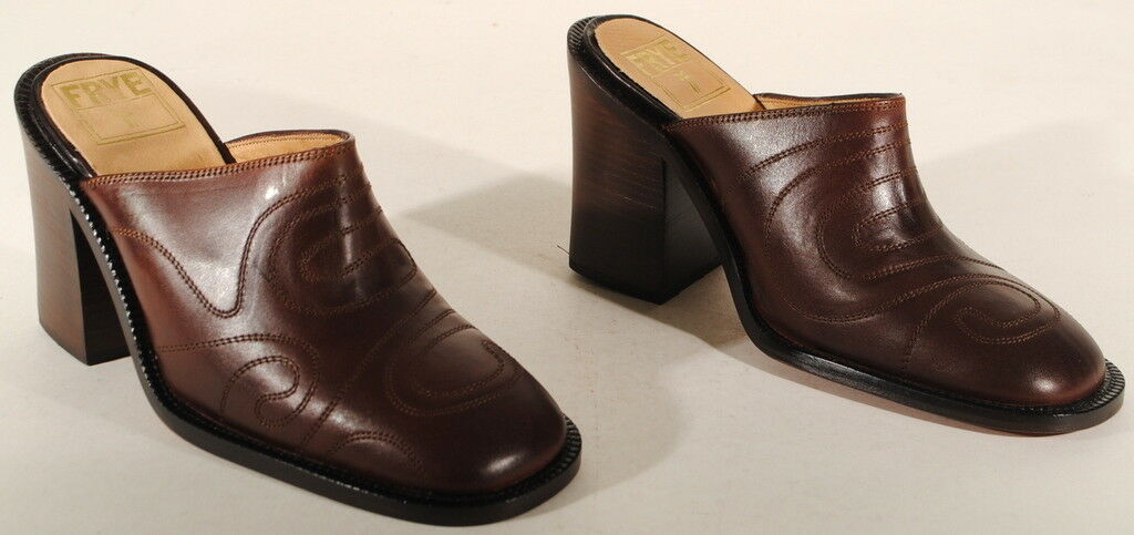 Frye Womens Conrad Leather Mules Heeled Shoes Size 6.5 M Brown  $250  Box