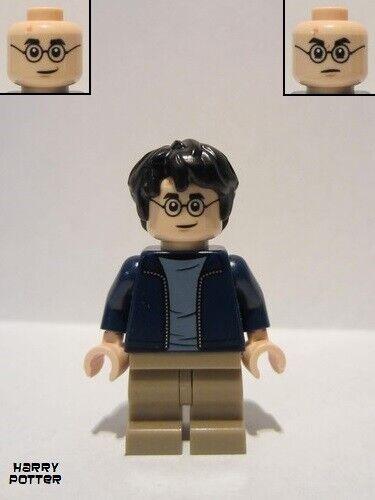 dark tan medium legacy-hp175 Lego figure harry potter dark blue open jacket