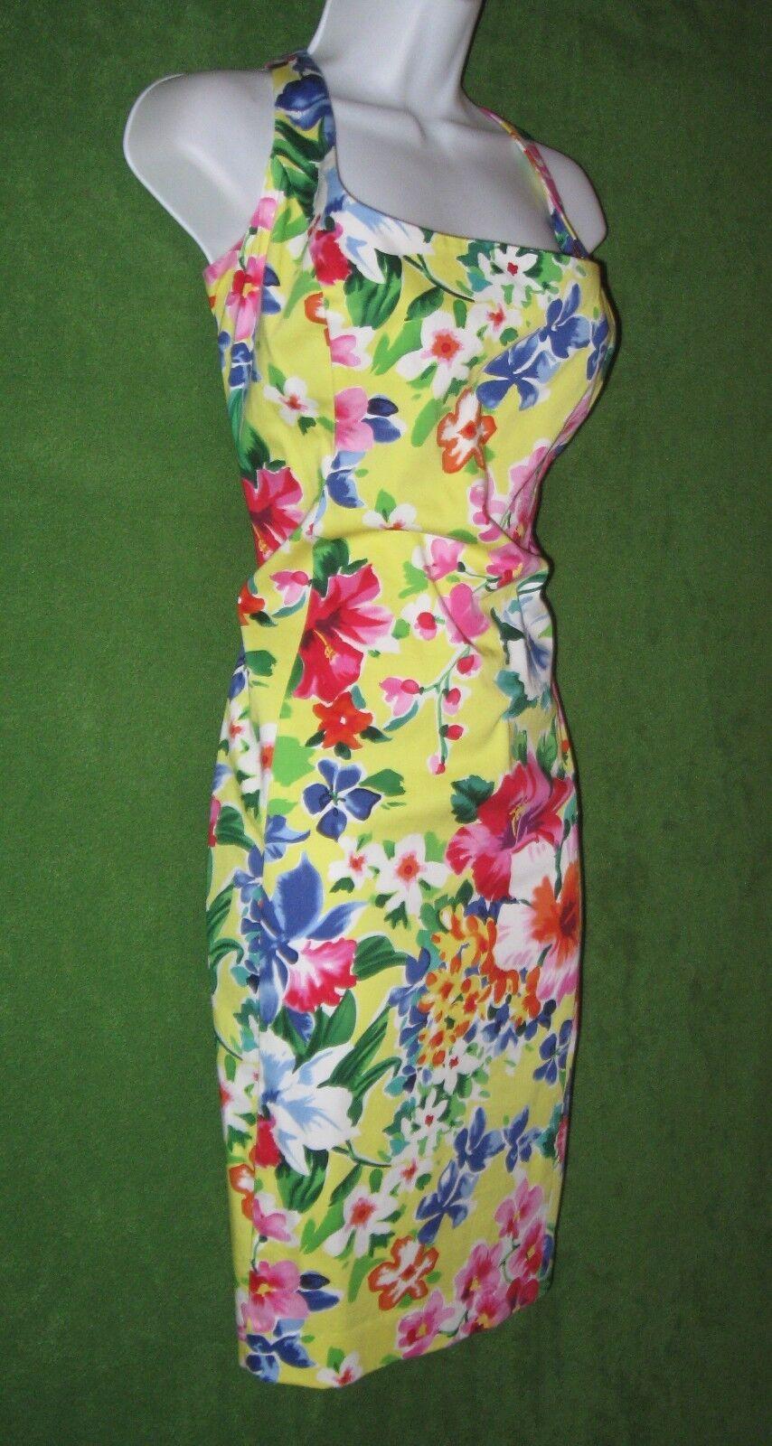 American Living Ralph Lauren Gelb-Multi Stretch Cotton Social Dress 16