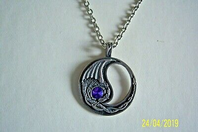 "Long Silver Chain & Pendant With Purple Crystal Stone Mystical Magical 26"" Long"