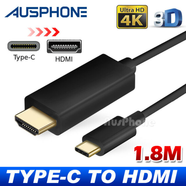 USB C to HDMI Cable USB 3.1 Type C Male to HDMI Male 4K Cable Macbook Chromebook