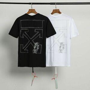new OFF WHITE men's Alphabet arrow print oversized loose short sleeves T-Shirts