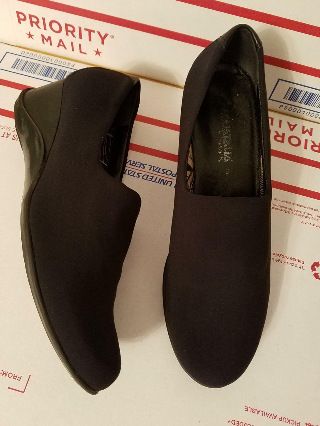 Aquatalia By Marvin K. Black Stretch Slip On Wedge Loafers Size 9