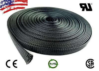 20/50FT Black Nylon Expandable Sheathing Braided Wire Cable Protection Sleeving