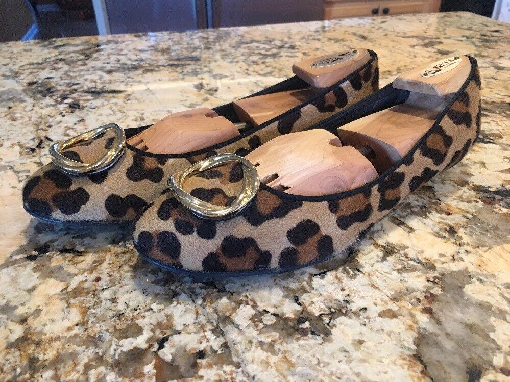 Stuart Stuart Stuart Weitzman Coñac leopardo pelo plana zapatos talla 10  ordenar ahora