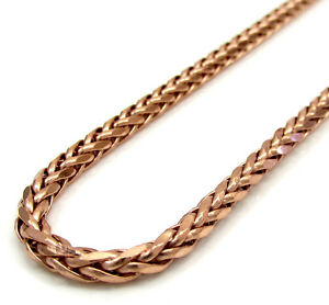 18-24-034-3-5mm-14k-Rose-Real-Gold-Franco-Wheat-Italy-Twist-Chain-Necklace-Mens