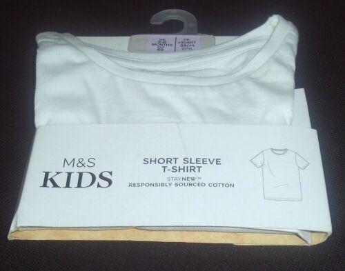 BABY T-SHIRT 3-6 MONTHS NEW MARKS /& SPENCER KIDS 100/% COTTON WHITE SHORT SLEEVED