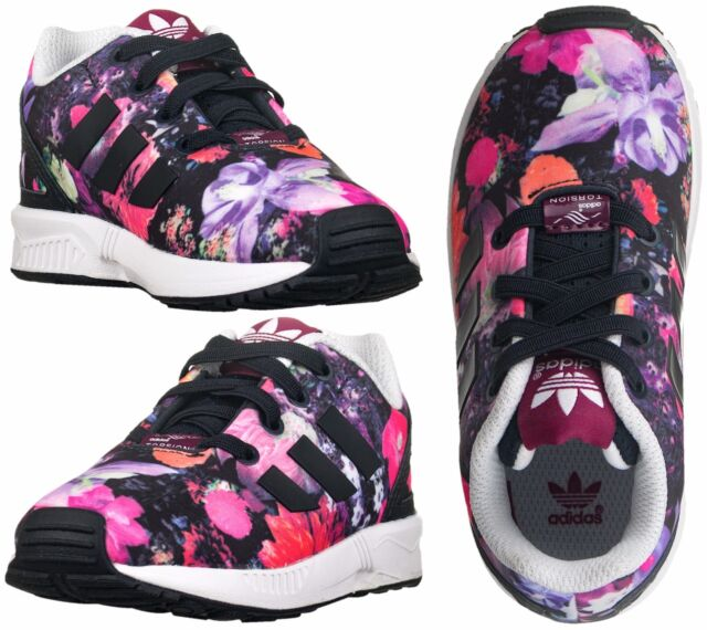 sports shoes eccbb 5fd0d new zealand adidas originals zx flux el infants girls kids baby floral  flower print trainers 7109f