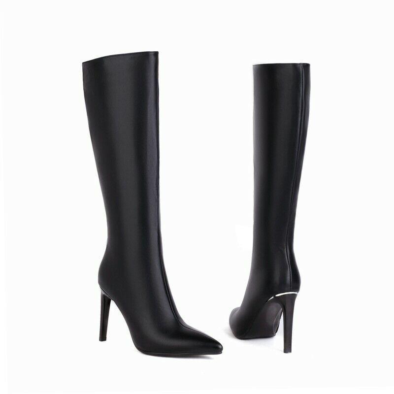 Women's High Heel Pointy Toe Mid Calf Knee High Knight Boots Clubwear 34-45 L
