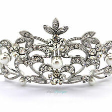 Bridal Wedding Prom Queen Princess Crown Silver Crystal & Pearl Tiara TH15