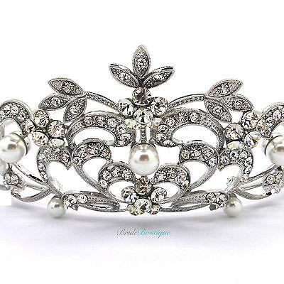 Bridal Wedding Prom Queen Princess Crown Silver Crystal & Pearl Tiara TH15