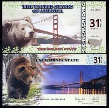State of California 31 State Dollars 2016 Golden Gate Grizzly Bear