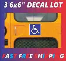 """3 PACK of 6""""x6"""" Handicap Symbol Sticker Decals for School Bus Van Bathroom"""