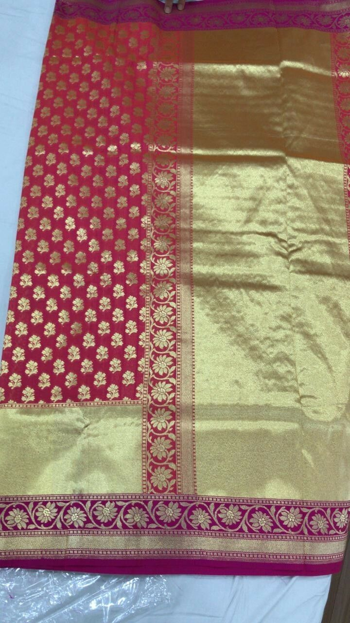 PURE BANARASI  SILK SARI BEAUTIFUL ASIAN  ELEGANT BLOUSE  OTHER COLOR OPTIONS