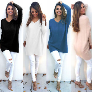 Womens-Long-Sleeve-Pullover-Top-Sweater-Lady-V-Neck-Jumper-Oversized-Sweatshirt