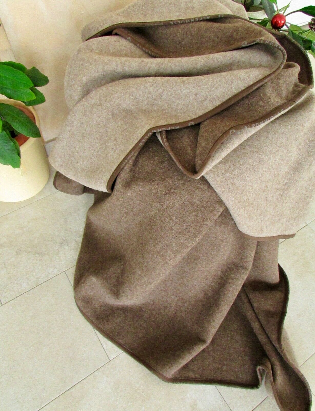 Wool Plaid Both Sides, Brown Mocha Bedspread, Throw, Made in Germany