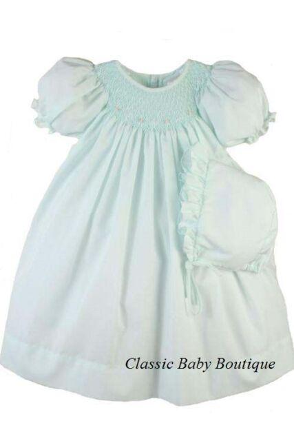 NWT Petit Ami Mint Smocked Bishop Daygown & Bonnet Newborn NB Baby Girls