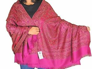 Mulberry-100-Wool-Embroidered-Shawl-Kashmir-Evening-Dress-Wrap-Winter-Scarf-80-034