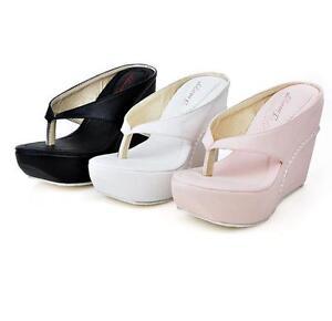 Women-039-s-Platform-Wedges-Heels-Sandals-Slippers-Flip-Flops-Black-White-Pink-Shoes