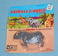 vintage Woolworth Woolco EMPIRE ANIMALS OF THE WORLD RHINOCEROS rhino rack toy