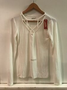 AriZona-Jeans-Womens-M-Medium-Cream-White-V-Neck-Long-Sleeve-Ribbed-Top-Shirt