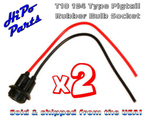 Bulbs 2 x Bulb Socket w// Pigtail Wire Leads for 194 type T10 Rubber