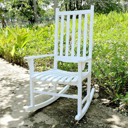Northbeam Solid Acacia Hardwood Outdoor Patio Slatted Back Rocking Chair White