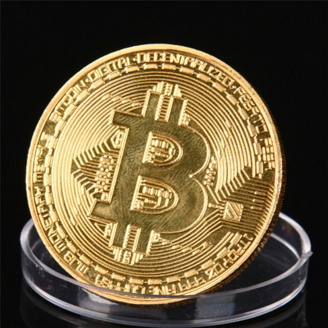 1 pc  Gold Plated Bitcoin Coin Collectible Gift Coin Art Collection Physical AB