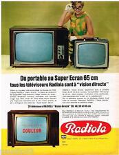 PUBLICITE ADVERTISING 095  1967  RADIOLA   téléviseur  portable & SUPER ECRAN