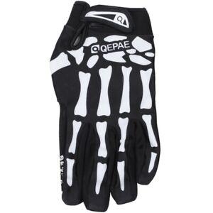 Qepae-Velos-Squelette-Motif-complet-Doigt-chaude-Gants-de-velo-noir-blanc-N6R1