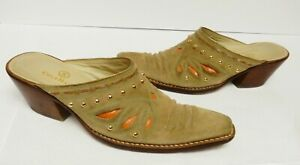 COLE-HAAN-MORGAN-Western-Mules-Shoes-Slides-Suede-Leather-Inlay-Brazil-Tan-6-5-B