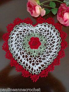 Crochet Doily Heart with Red Rose by PaulineAnneCrochet