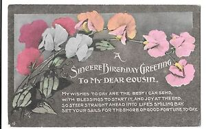 Vintage Sincere Birthday Greeting To My Dear Cousin Card Early