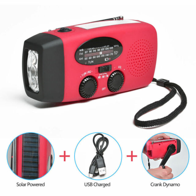 Emergency AM/FM/NOAA Weather Radio Solar Hand Crank with LED Flashlight Charger