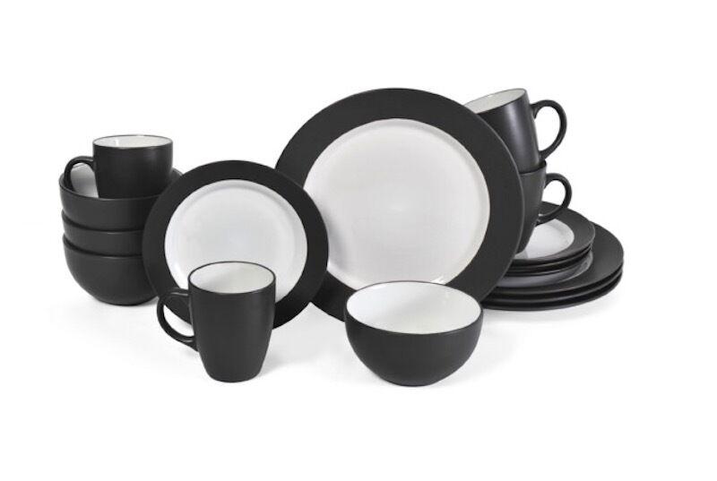 Noir 32 Pièce Dinnerware Set 8 lieu réglage Serving Dish Bol Assiette Tasse