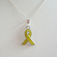 Yellow Enamel Ribbon Pendant Charm And Necklace- Free Shipping
