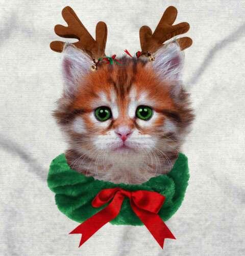 Cute Reindeer Cat Shirt Santa Claus Kitten Holiday Season Ladies Tee Shirt T